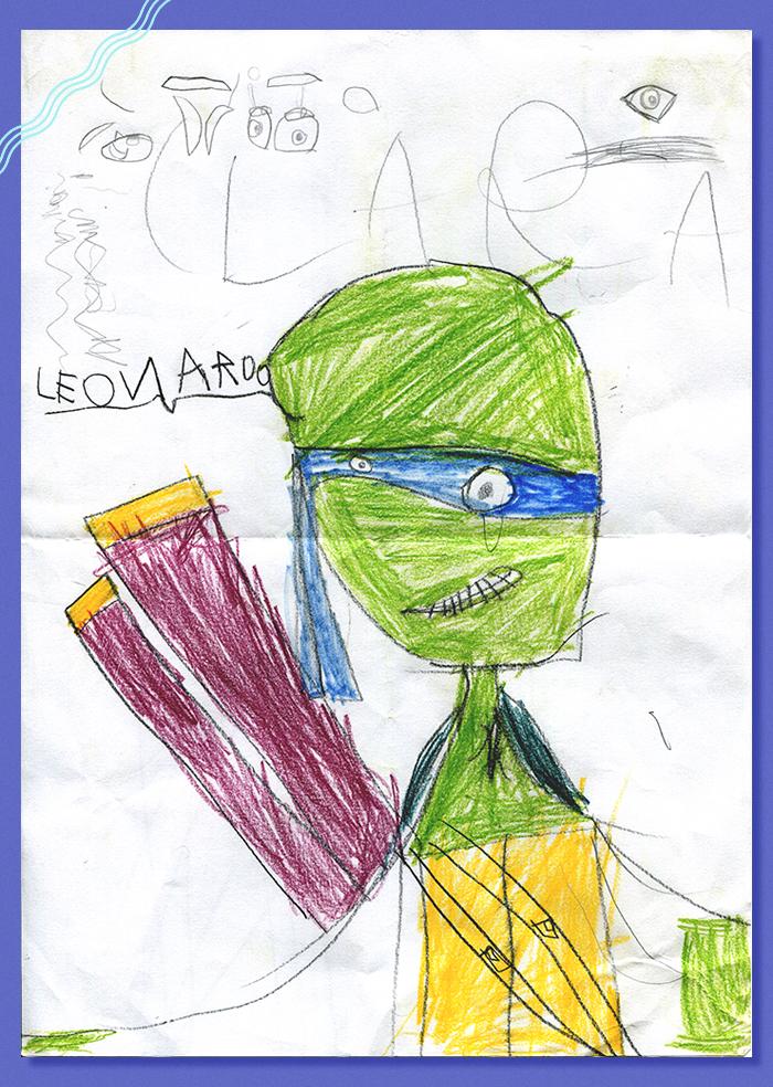 Desenho da Clara Sato, priminha de 4 anos da ilustradora Fernanda Garcia (Kissy), que fez seu Tartaruga Ninja favorito :}