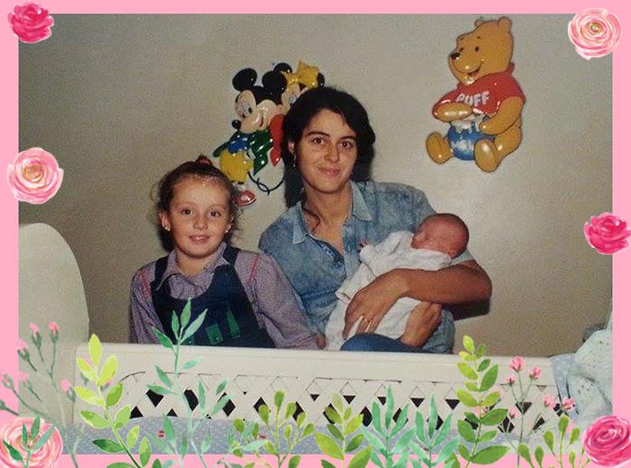Eu, mamãe e minha irmã Paula. Colagens por Bárbara Malagoli (Baby C).