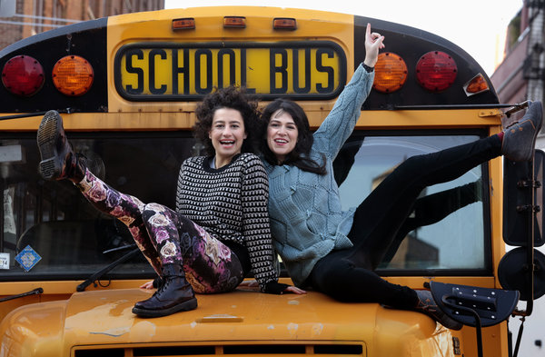 "Ilana Glazer, left, and Abbi Jacobson, right,  are stars and writers of the new Comedy Central show, ""Broad City."" The duo photographed outside Comedy Central offices in Manhattan, NY, on Dec. 16, 2013.  (Photo by Carolyn Cole/Los Angeles Times via Getty Images)"