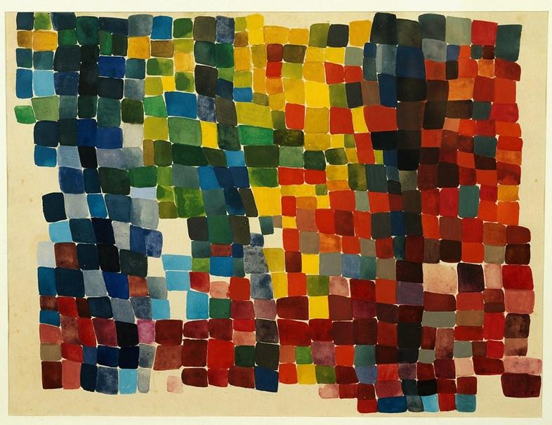 Composição de manchas quadrangulares, policromadas, densas, 1920 Sophie Taeuber-Arp