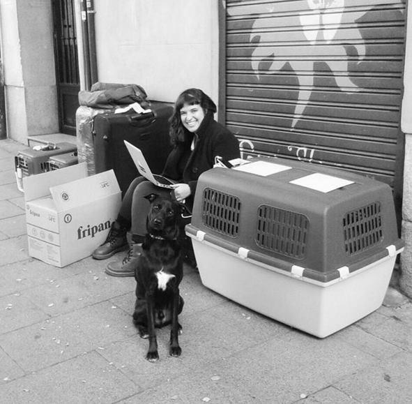 Primeira foto no destino: duas caixas gatais, duas malas humanais, eu, pequena caixa do Madi e Madi