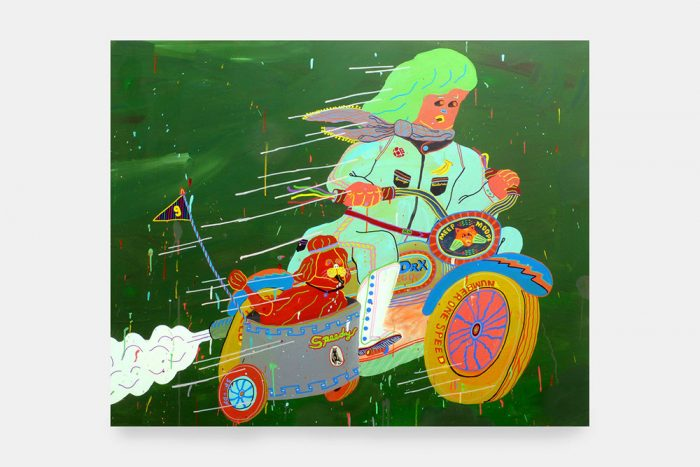 Misaki Kawai, Easy Riders, 2007, Acrylic and collage on canvas, 48 x 60 in, 122 x 152 cm