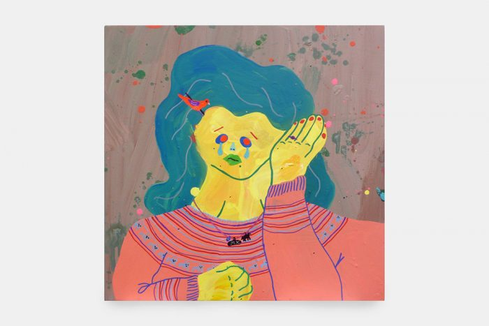 Misaki Kawai, Pink Bird Lover, 2007, Acrylic and collage on canvas, 30 x 30 in, 76 x 76 cm